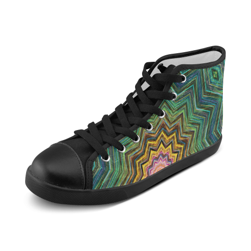 eye of the star green blue yellow mandala abstract art Men's High Top Canvas Shoes (Model 002)