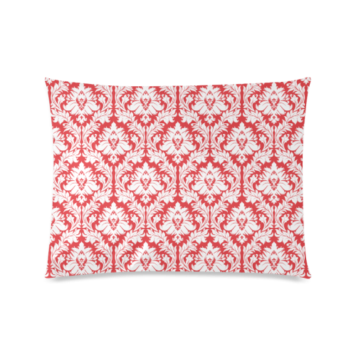 """damask pattern red and white Custom Picture Pillow Case 20""""x26"""" (one side)"""