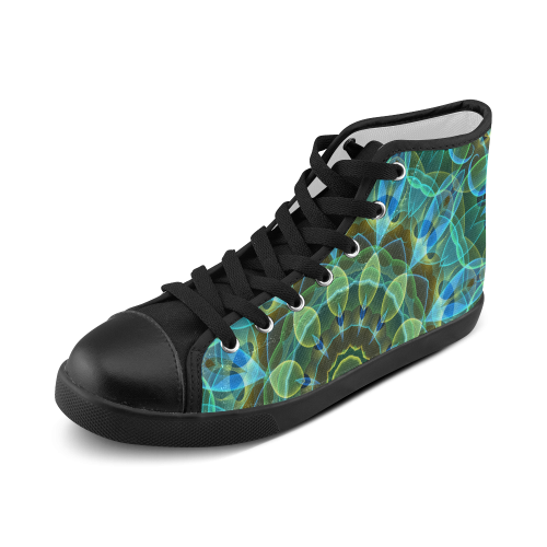green leaves mandala abstract art Men's High Top Canvas Shoes (Model 002)