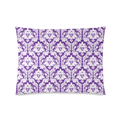 """damask pattern royal purple and white Custom Picture Pillow Case 20""""x26"""" (one side)"""