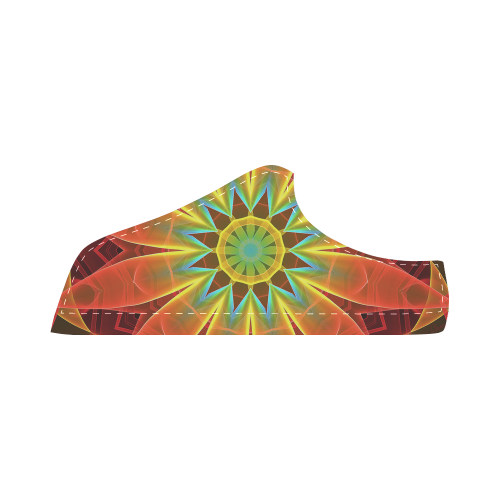Radiance and Light, Orange Brown Awakening Women's Chukka Canvas Shoes (Model 003)