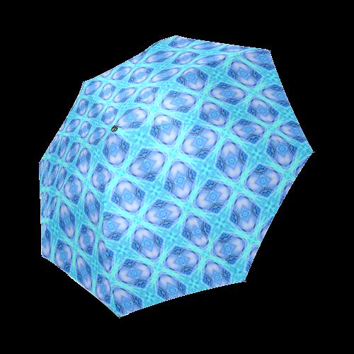 Abstract Circles Arches Lattice Aqua Blue Foldable Umbrella (Model U01)