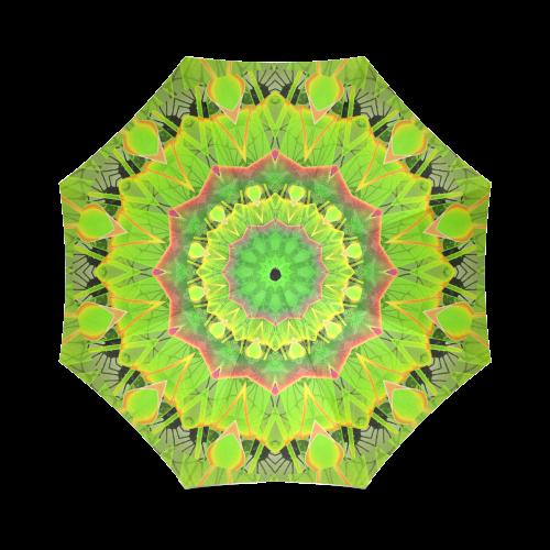 Golden Green Foliage Ferns Abstract Summer Days Foldable Umbrella (Model U01)