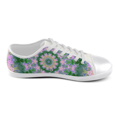 Rose Pink Green Explosion of Flowers Mandala Men's Canvas Shoes (Model 016)