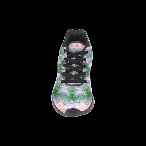 Rose Pink Green Explosion of Flowers Mandala Women's Running Shoes (Model 020)