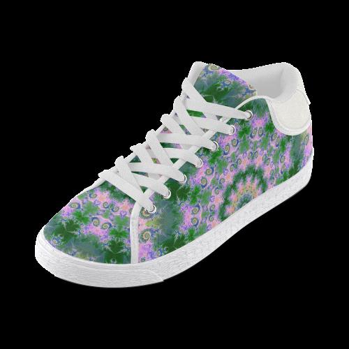 Rose Pink Green Explosion of Flowers Mandala Women's Chukka Canvas Shoes (Model 003)