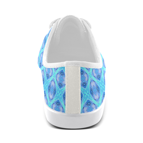 Abstract Circles Arches Lattice Aqua Blue Canvas Kid's Shoes (Model 016)