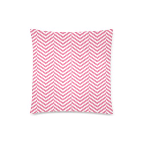 """pink and white classic chevron pattern Custom Zippered Pillow Case 18""""x18""""(Twin Sides)"""