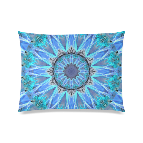 "Sapphire Ice Flame, Cyan Blue Crystal Wheel Custom Zippered Pillow Case 20""x26""(Twin Sides)"