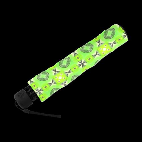 Vibrant Abstract Tropical Lime Foliage Lattice Foldable Umbrella (Model U01)