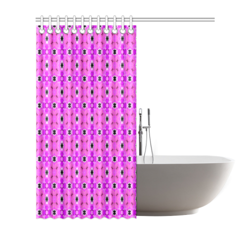 "Circle Lattice of Floral Pink Violet Modern Quilt Shower Curtain 66""x72"""