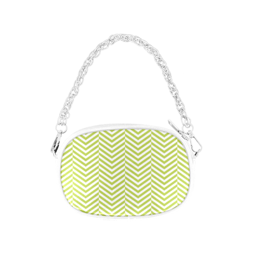 spring green and white classic chevron pattern Chain Purse (Model 1626)
