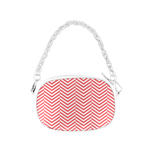 red and white classic chevron pattern Chain Purse (Model 1626)