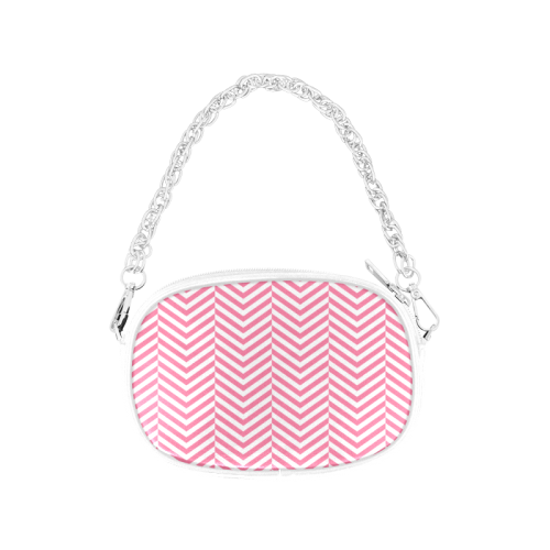 pink and white classic chevron pattern Chain Purse (Model 1626)