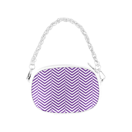 royal purple and white classic chevron pattern Chain Purse (Model 1626)