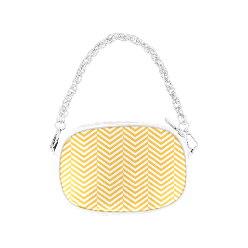 sunny yellow and white classic chevron pattern Chain Purse (Model 1626)