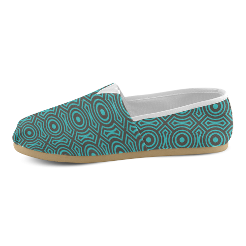 blue geometric pattern Unisex Casual Shoes (Model 004)
