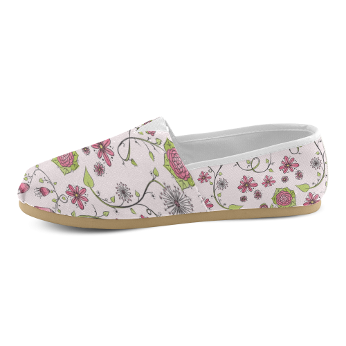pink fantasy doodle flower pattern Women's Casual Shoes (Model 004)