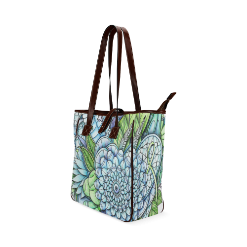 Blue Green flower drawing peaceful garden 2 Classic Tote Bag (Model 1644)