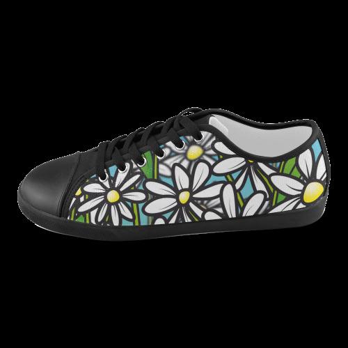 white daisy field flowers Women's Canvas Shoes (Model 016)