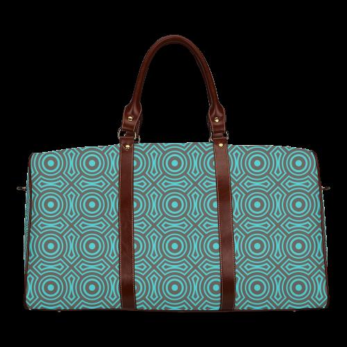 blue geometric pattern Waterproof Travel Bag/Large (Model 1639)