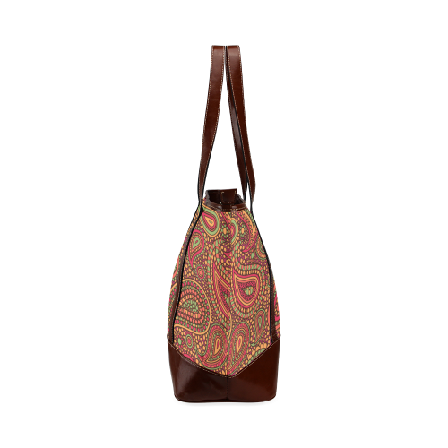 red paisley mosaic pattern Tote Handbag (Model 1642)