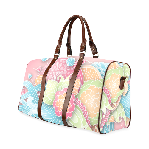 bright blue green pink yellow flowers Waterproof Travel Bag/Large (Model 1639)