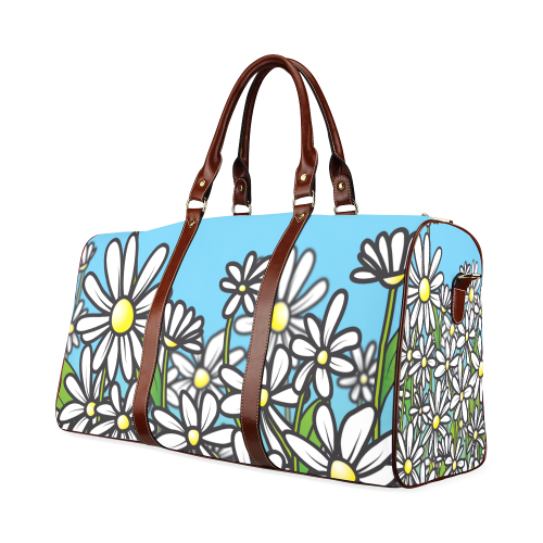 white daisy field flowers Waterproof Travel Bag/Large (Model 1639)