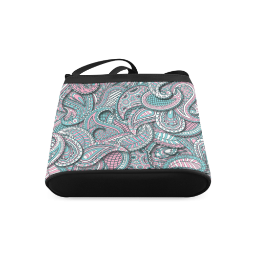 Pink teal white fun ornate paisley pattern Crossbody Bags (Model 1613)