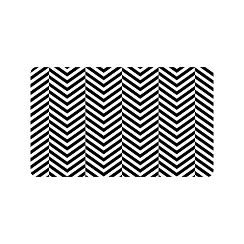 "black and white classic chevron pattern Doormat 30""x18"""