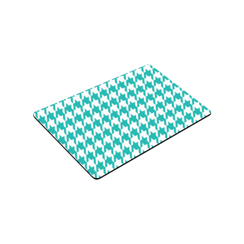 "turquoise and white houndstooth classic pattern Doormat 30""x18"""