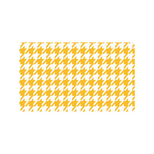 "sunny yellow and white houndstooth classic pattern Doormat 30""x18"""