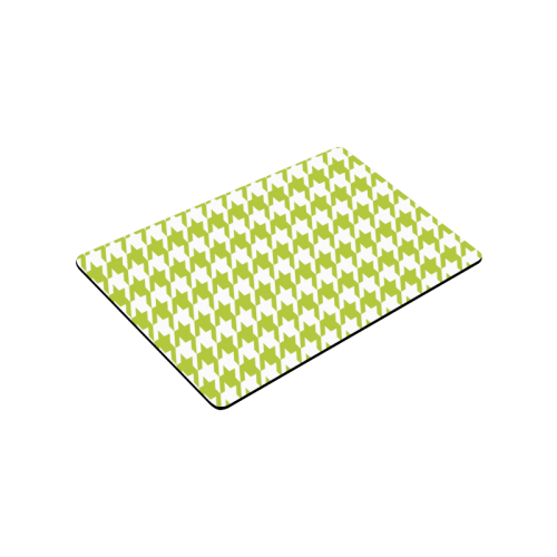 "spring green and white houndstooth classic pattern Doormat 30""x18"""