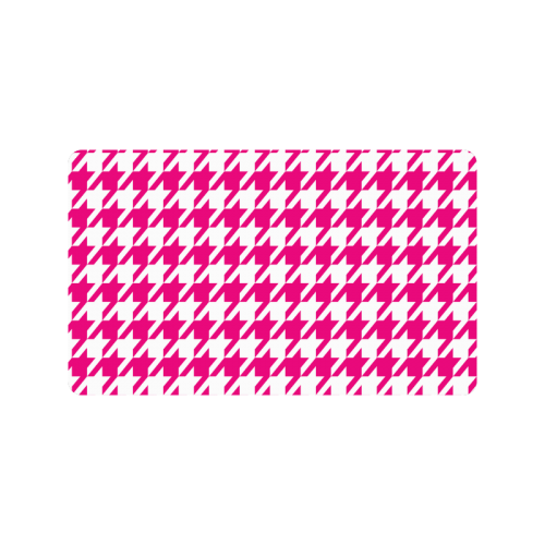 "hot pink  and white houndstooth classic pattern Doormat 30""x18"""