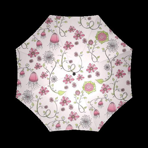 pink fantasy doodle flower pattern Foldable Umbrella (Model U01)