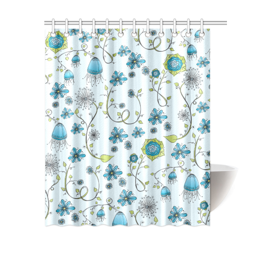 "blue fantasy doodle flower pattern Shower Curtain 60""x72"""
