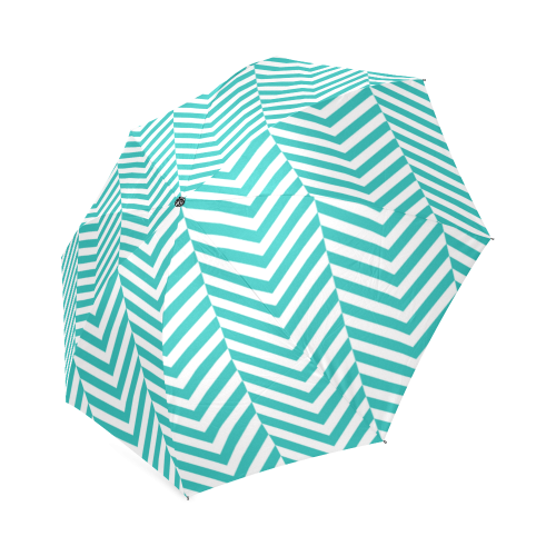 turquoise and white classic chevron pattern Foldable Umbrella