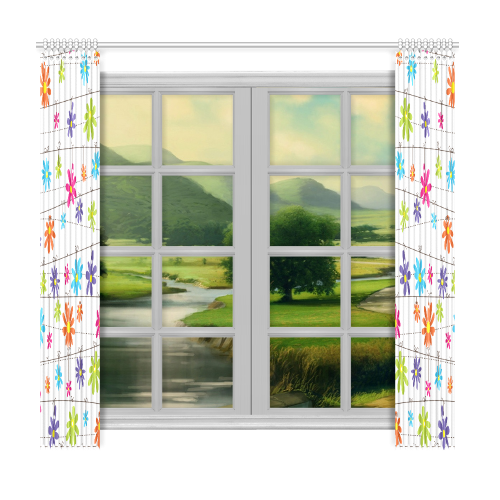 """colorful flowers hanging on lines Window Curtain 50""""x96""""(Two Piece)"""