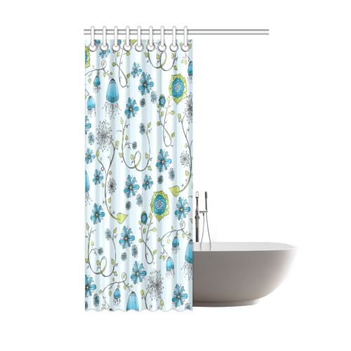"blue fantasy doodle flower pattern Shower Curtain 48""x72"""