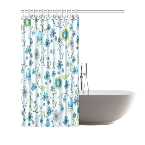 "blue fantasy doodle flower pattern Shower Curtain 66""x72"""