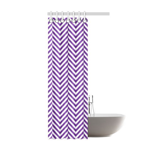 Royal Purple And White Classic Chevron Pattern Shower