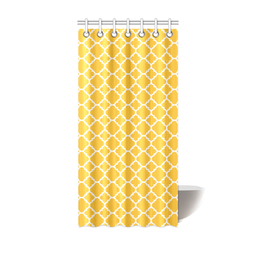 "sunny yellow white quatrefoil classic pattern Shower Curtain 36""x72 ..."