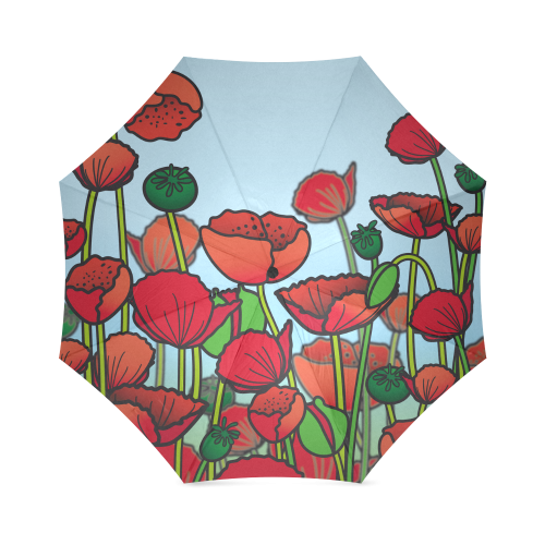 field of poppy flowers red floral Foldable Umbrella