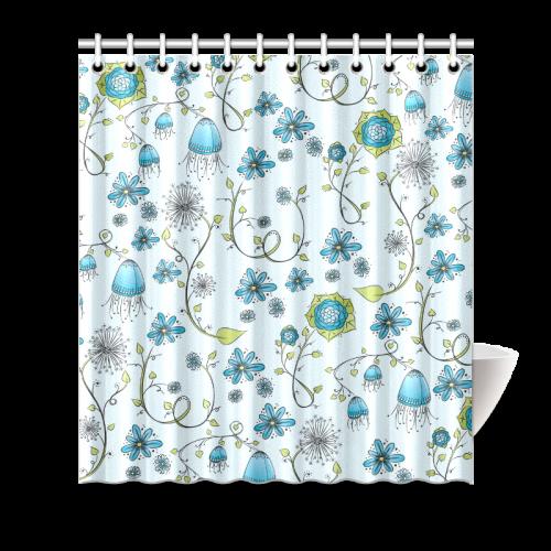 "blue fantasy doodle flower pattern Shower Curtain 66""x72"""