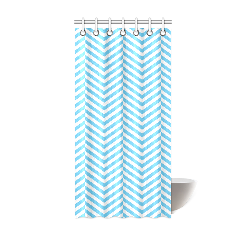 Baby blue and white zig zag chevron shower curtain by grey for Gray curtains png