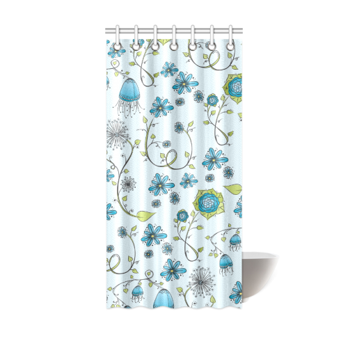 "blue fantasy doodle flower pattern Shower Curtain 36""x72"""
