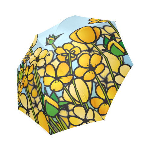 buttercup flower field yellow floral arrangement Foldable Umbrella (Model U01)