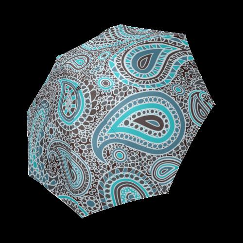 blue paisley mosaic design Foldable Umbrella