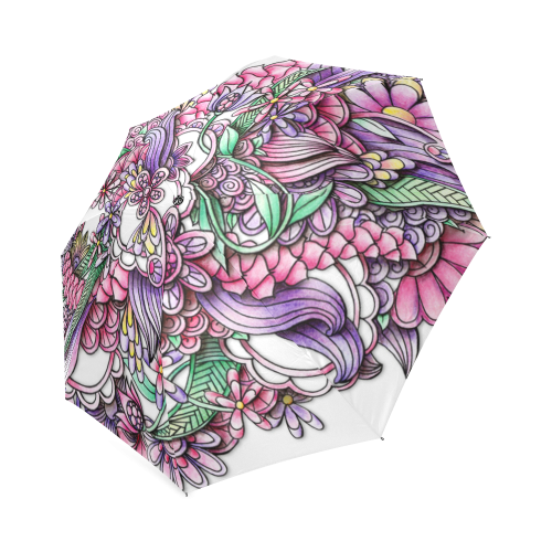 Pink Purple flower drawing Foldable Umbrella (Model U01)