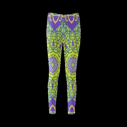 Lime Green Yellow Leaves Star Matrix Mandala Purple Cassandra Women's Leggings (Model L01)